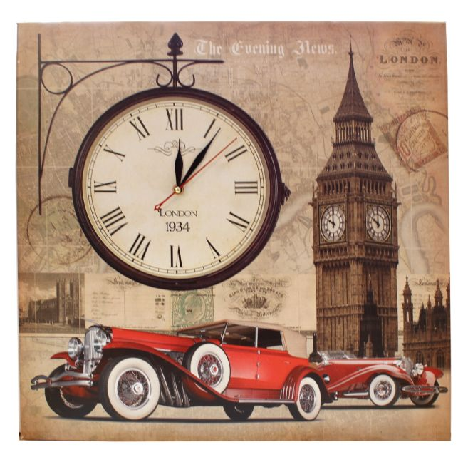 Hodiny London retro auto 53x53