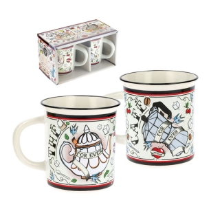 "Šálky káva čaj L sada 2ks ""For Ever"" D 8 x H.9 cm - 25cl, porcelán"
